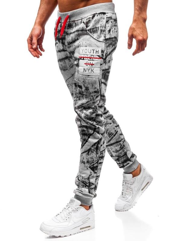 Spodnie męskie dresowe joggery szare Denley AM009