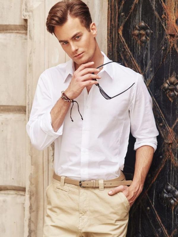 Stylizacja nr 295 - okulary, bransoletka, koszula, spodnie chinosy