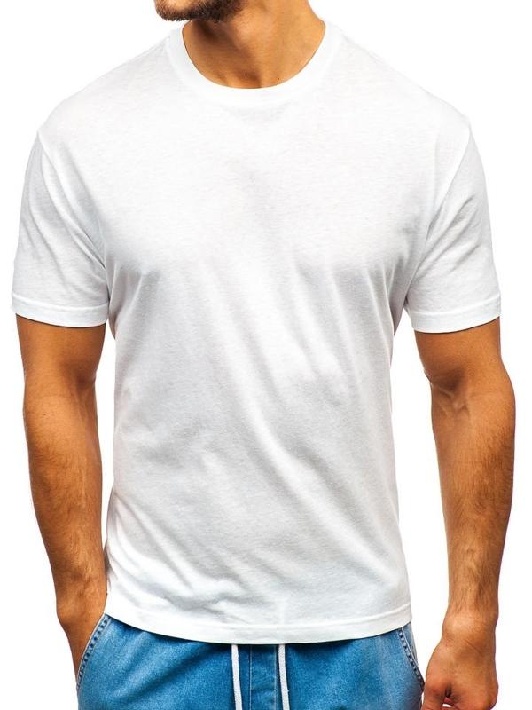 T-shirt męski bez nadruku biały Denley T1427
