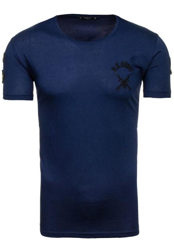 T-shirt męski z nadrukiem atramentowy Denley 9021