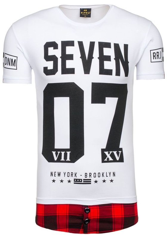 T-shirt męski z nadrukiem biały Denley 5112