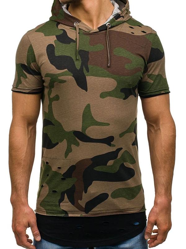 T-shirt męski z nadrukiem zielony Denley 1055