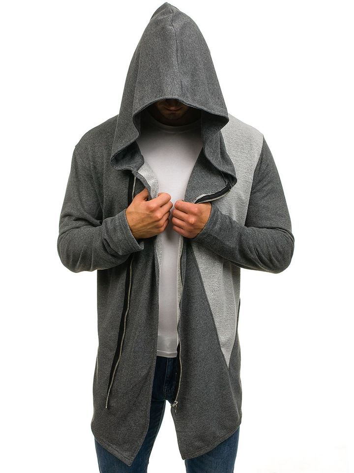 bluza męska długa asymetryczne zapięcie