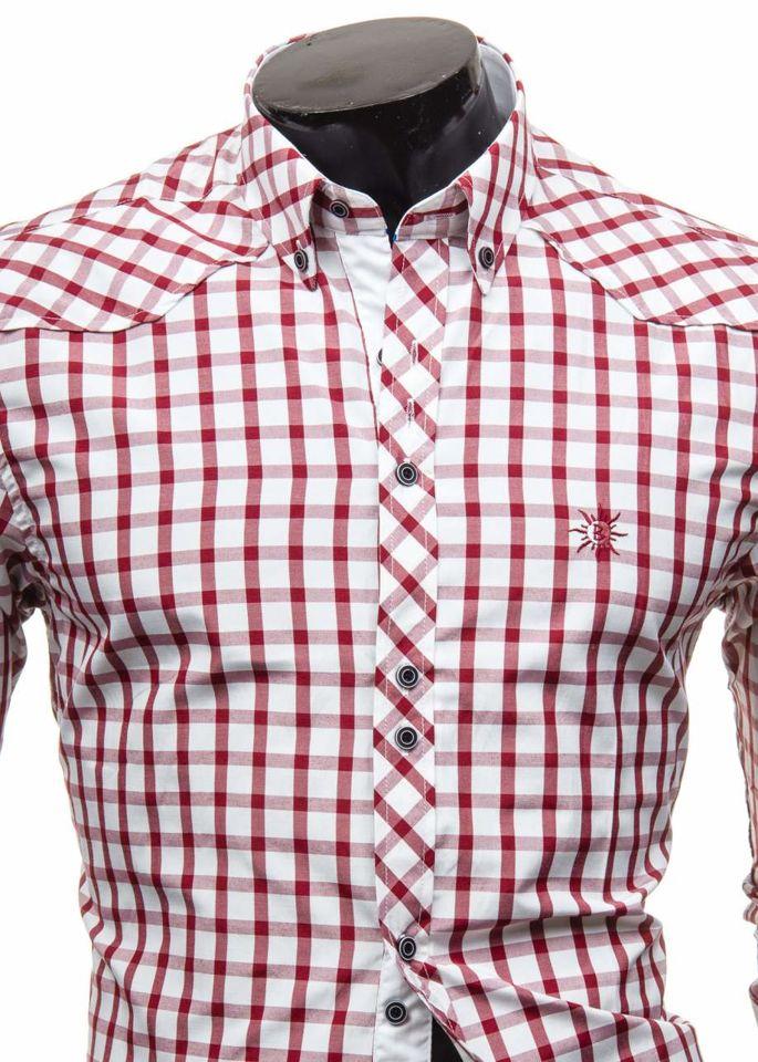 8960140ed5e625 Koszula męska elegancka w kratę z długim rękawem bordowa Bolf 5812