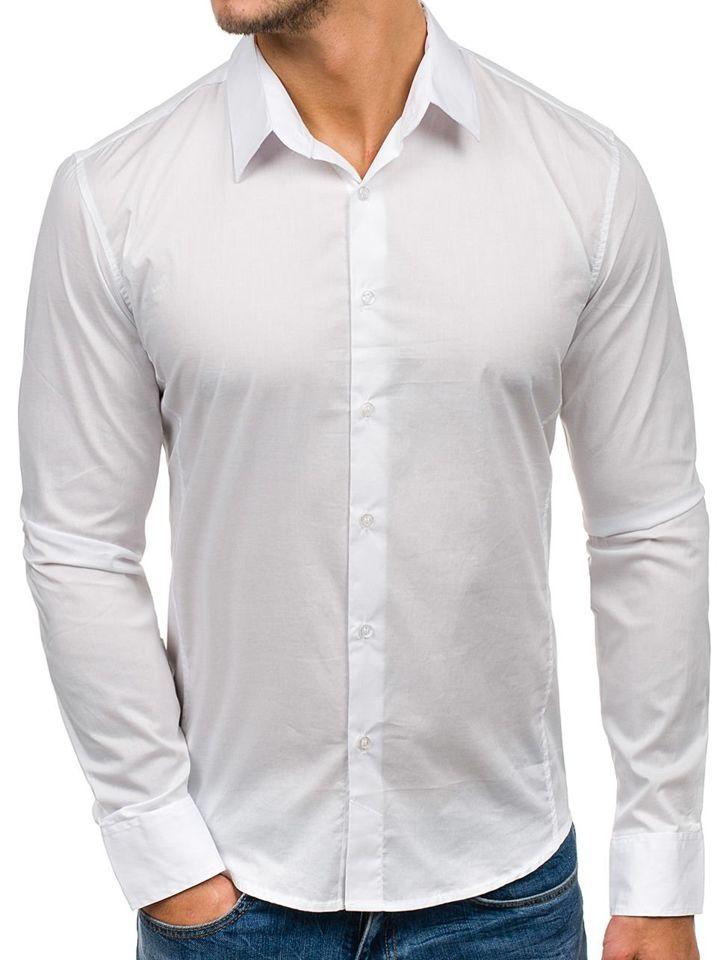52cb348b6338a ... Koszula męska elegancka z długim rękawem biała Denley 142 ...