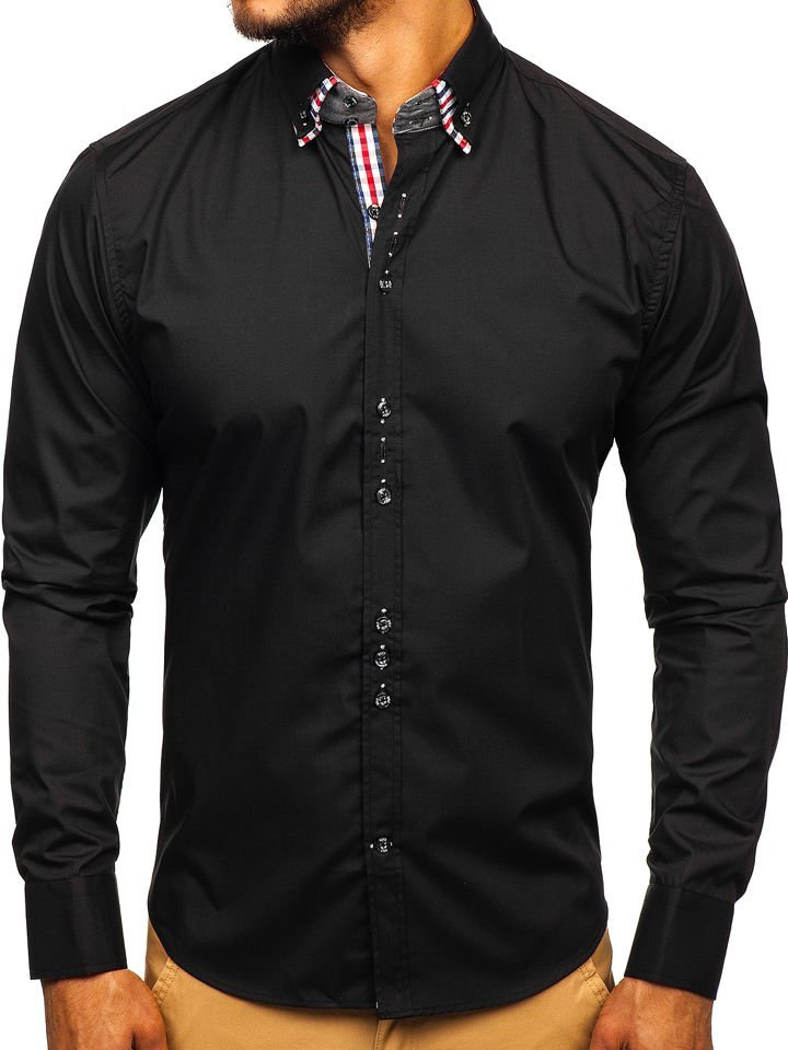 Koszula męska elegancka z długim rękawem czarna Bolf 0926  QtB1A