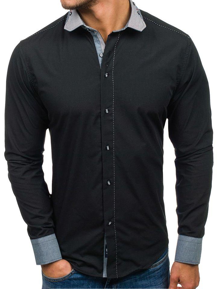0592902ed1 Koszula męska elegancka z długim rękawem czarna Bolf 6962