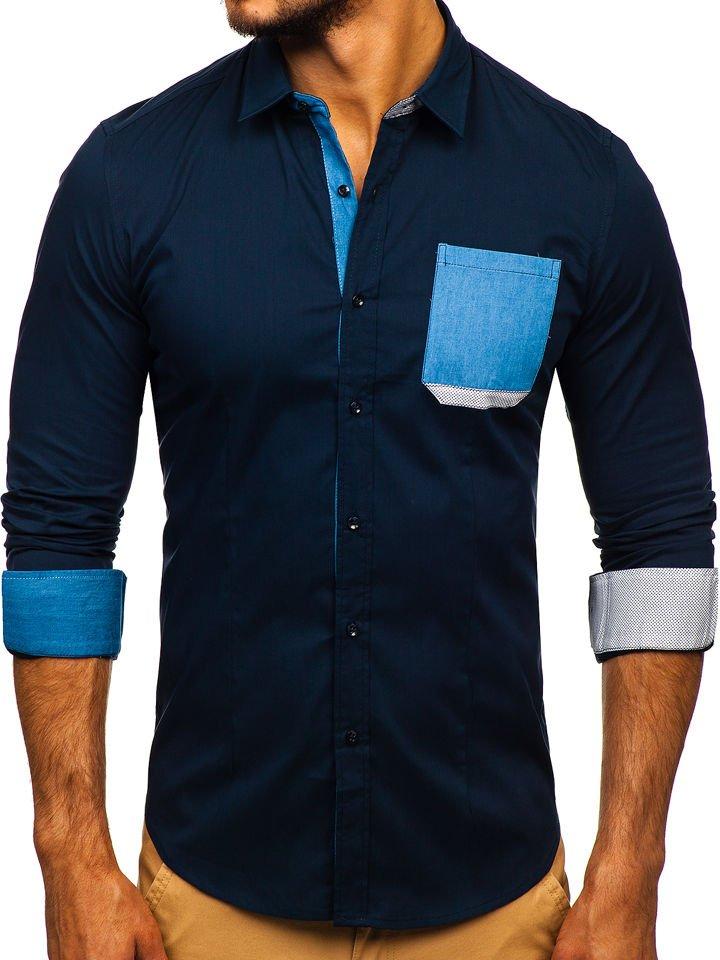 Koszula męska elegancka z długim rękawem granatowa Denley 7192  VQU5t