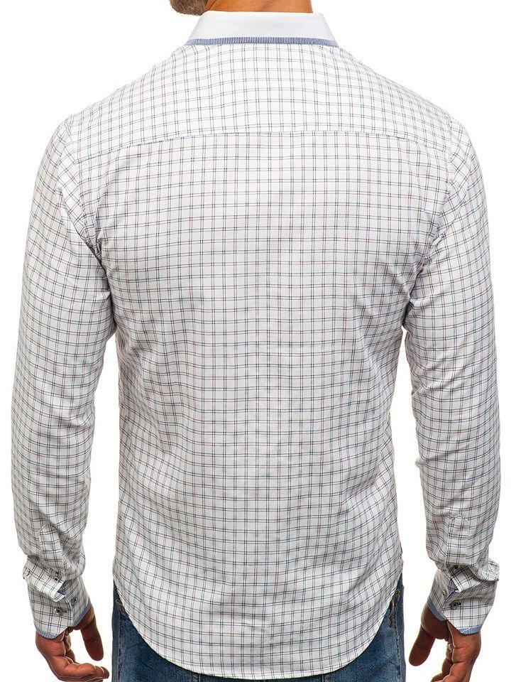 dbe9c17bed6c2b Koszula męska w kratę z długim rękawem biało-bordowa Bolf 8812