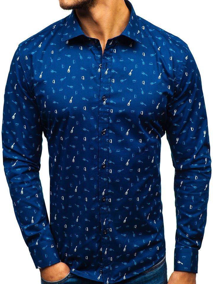 56351808176b Koszula męska we wzory z długim rękawem granatowa 201G25
