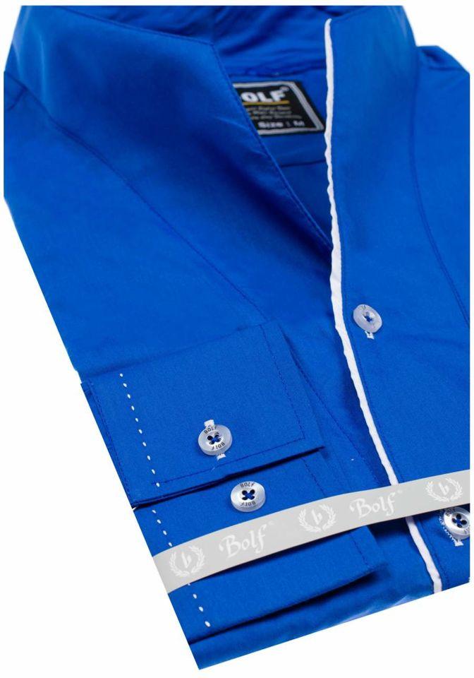 dd00b4e3c82ec5 Koszula męska z długim rękawem kobaltowa Bolf 5720-1
