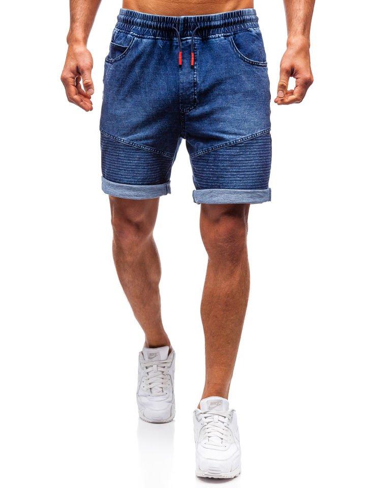 9538f21f33d64 Krótkie spodenki jeansowe męskie granatowe Denley 5788