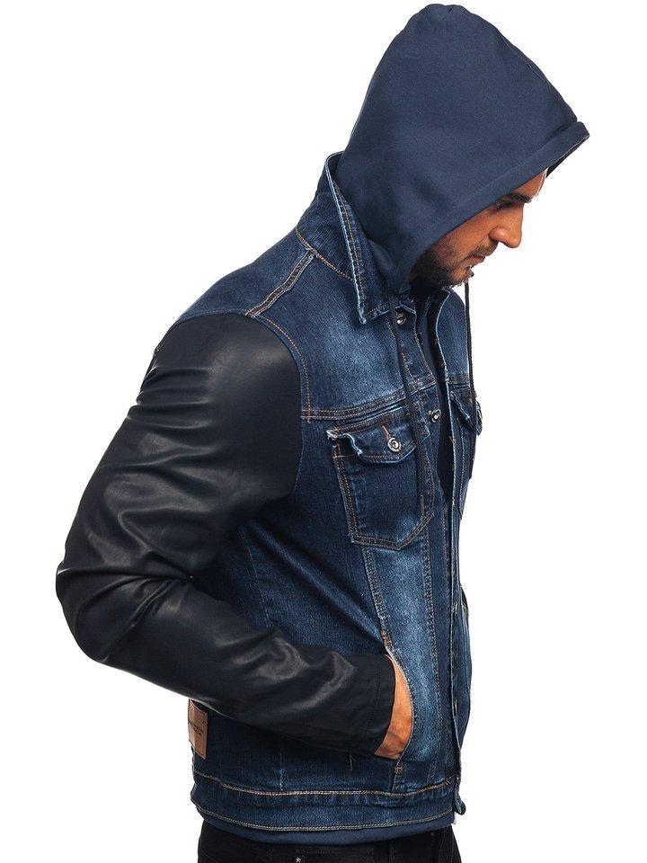 Kurtka jeansowa męska granatowa AK530