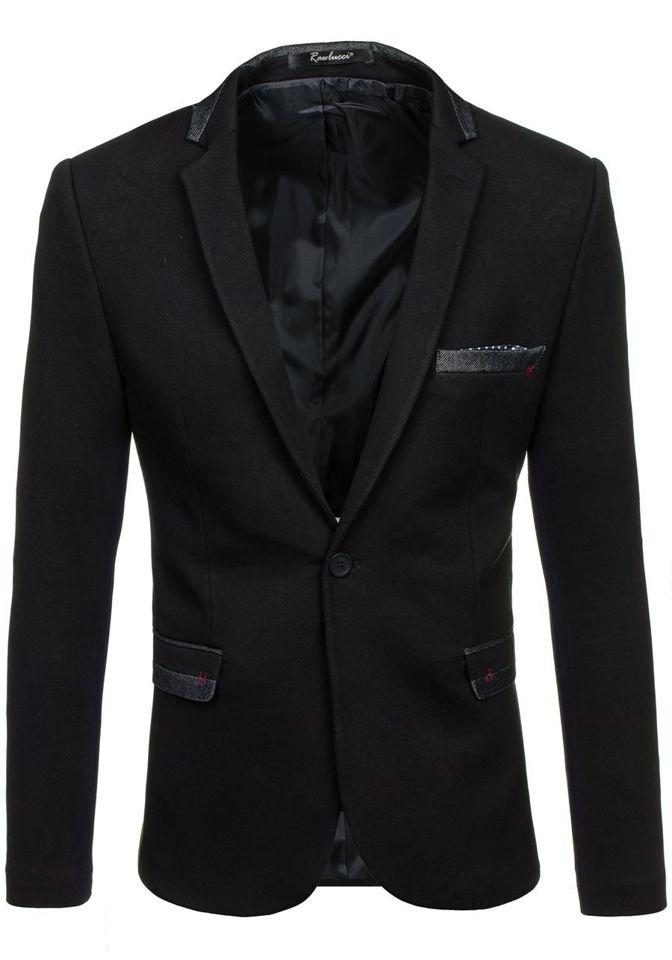 3f4a9685569f5 Marynarka męska elegancka czarna Denley M004