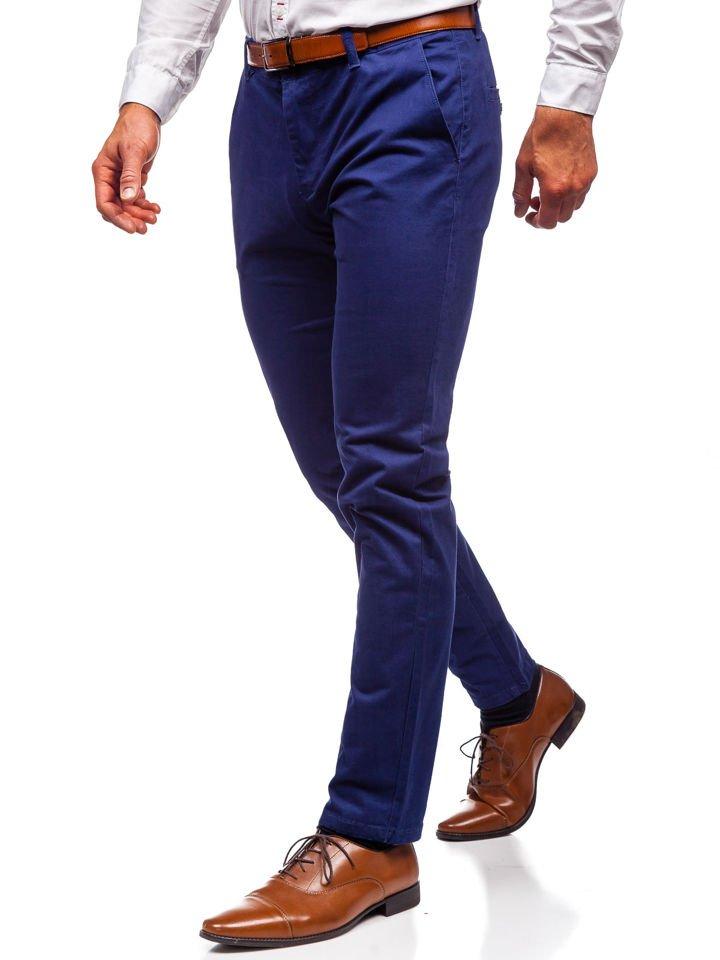Spodnie chinosy męskie kobaltowe Denley 1120