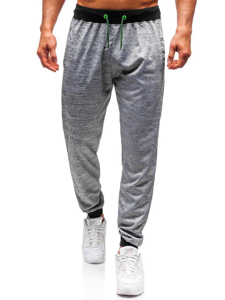 983f7792 Spodnie dresowe joggery męskie szare Denley YY002