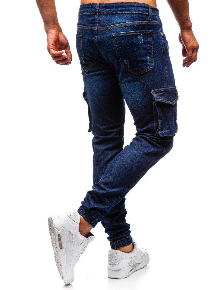 Spodnie jeansowe joggery męskie granatowe Denley 3002