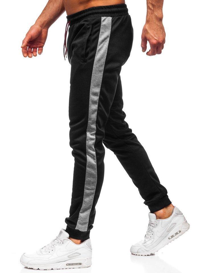 Spodnie męskie dresowe czarno grafitowe Denley JZ11003