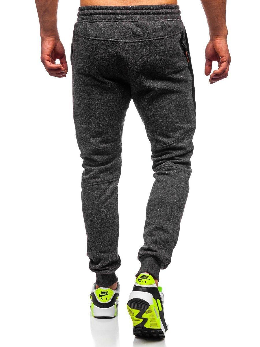 1bf093ddfda1ab Spodnie męskie dresowe joggery antracytowo-pomarańczowe Denley Q3778