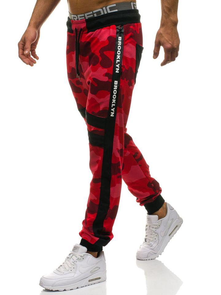 76c219a97 Spodnie męskie dresowe joggery moro-czerwone Denley 0877