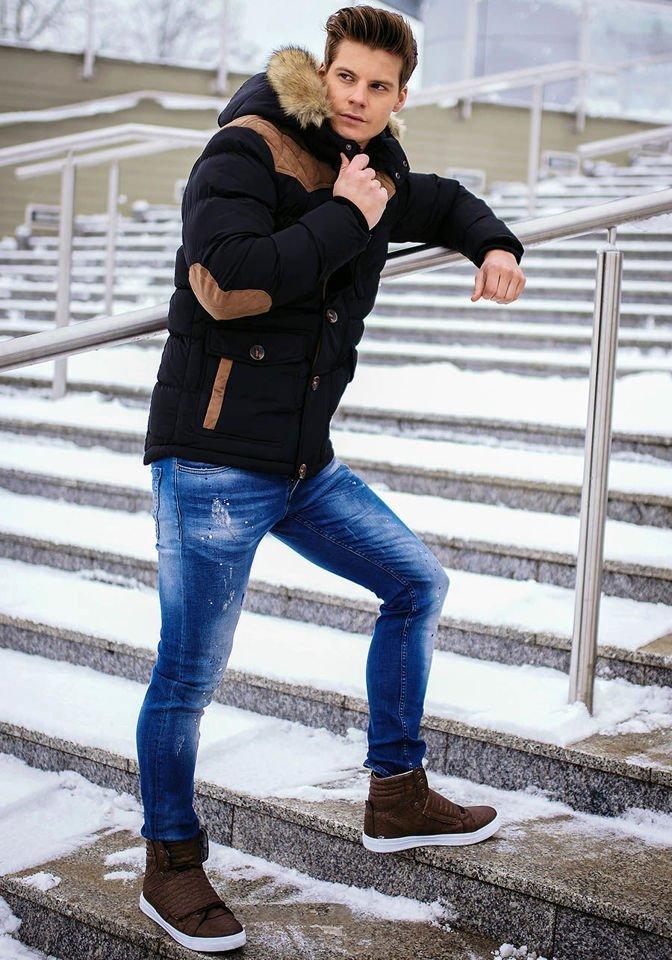 Stylizacja Nr 144 Kurtka Zimowa Spodnie Jeansowe Buty Sneakersy