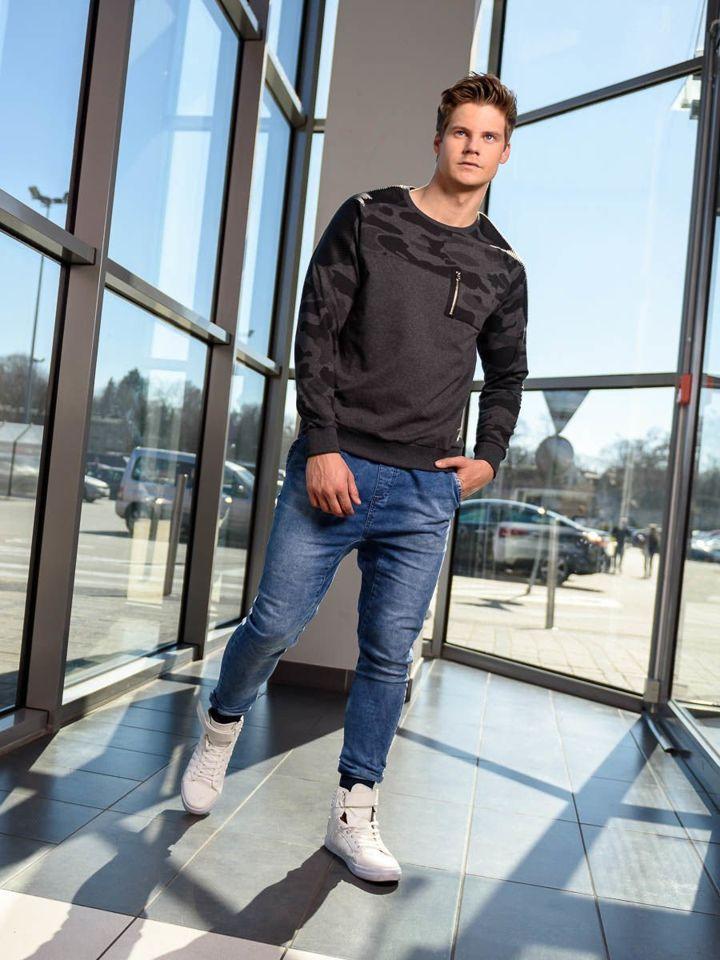 Stylizacja Nr 211 Bluza Bez Kaptura Spodnie Jeansowe Baggy Buty Sneakersy