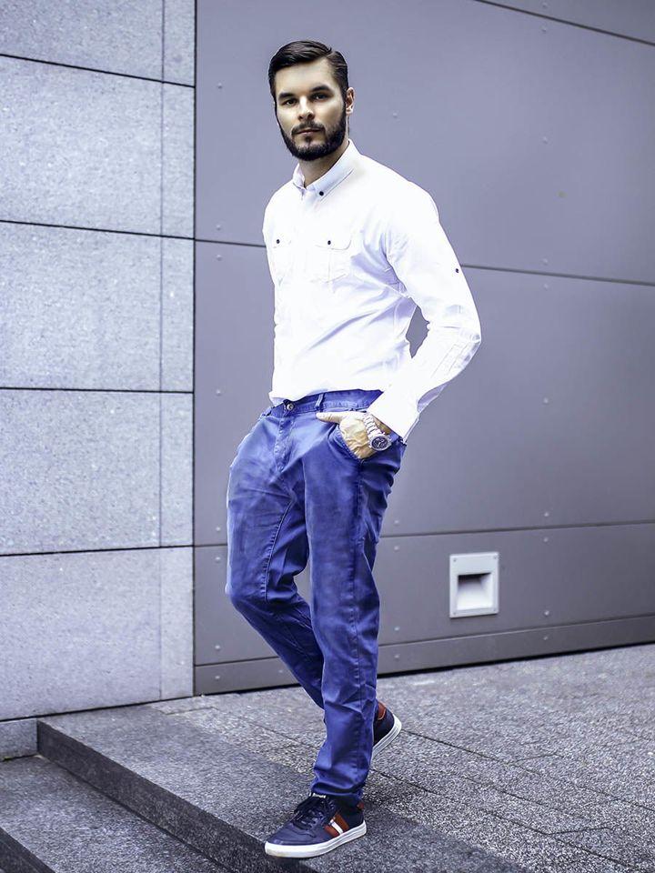 Stylizacja Nr 280 Zegarek Elegancka Koszula Spodnie Chinosy Buty