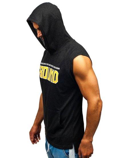 T-shirt męski z nadrukiem i kapturem antracytowy Bolf 2859