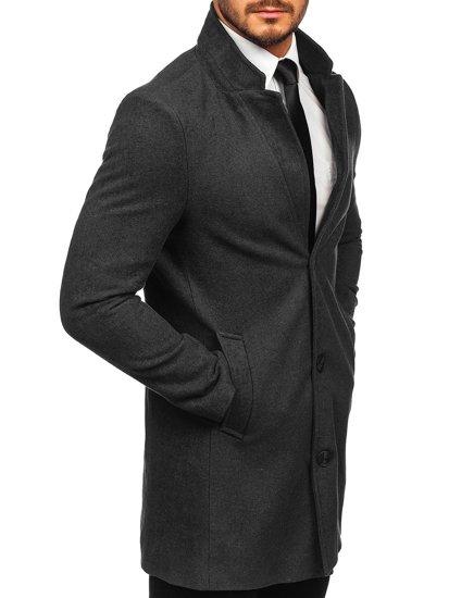 Antracytowy płaszcz męski zimowy Denley 0010