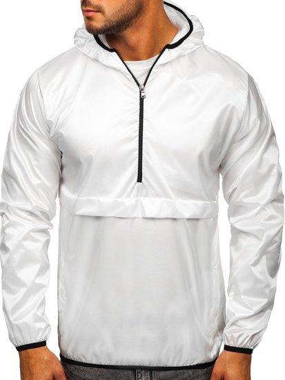 Biała przejściowa kurtka męska sportowa anorak z kapturem BOLF 5061