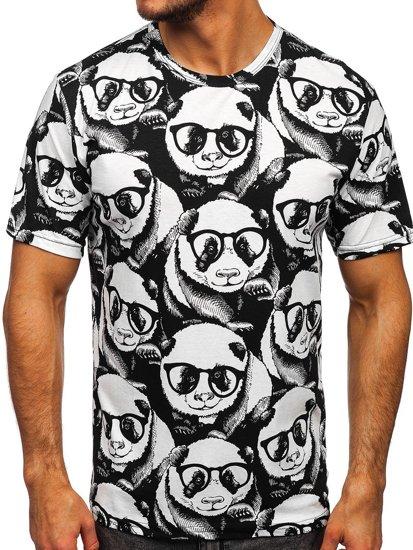 Biały T-shirt męski z nadrukiem Denley 14911