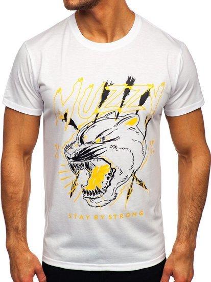 Biały T-shirt męski z nadrukiem Denley KS2528