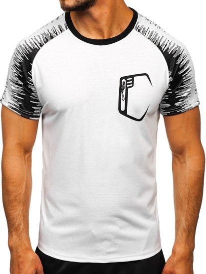 Biały T-shirt treningowy męski z nadrukiem Denley KS2072
