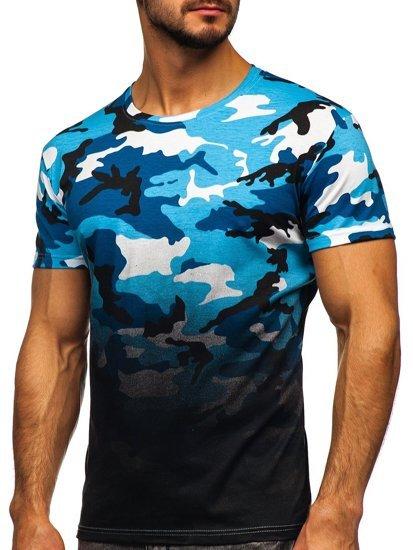 Błękitny t-shirt męski z nadrukiem moro Denley S808