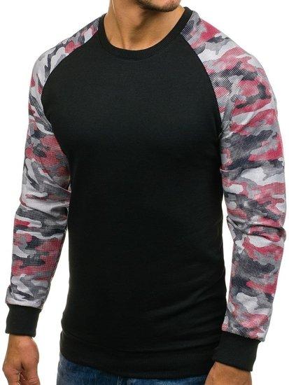 Bluza męska bez kaptura czarno-czerwona Denley 0883