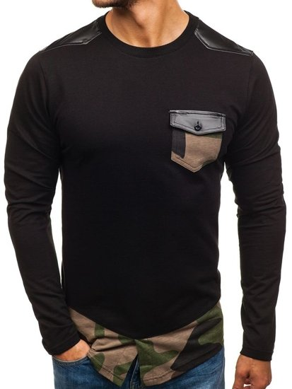 Bluza męska bez kaptura czarno-zielona Denley 0753