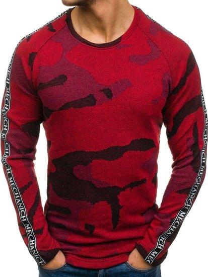 Bluza męska bez kaptura moro-czerwona Denley 2039