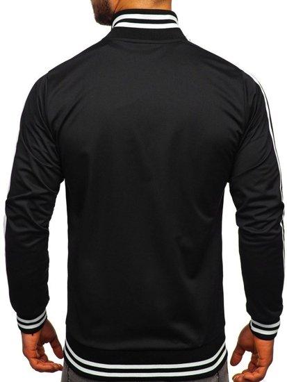 Bluza męska bez kaptura rozpinana retro style czarna Bolf 11113