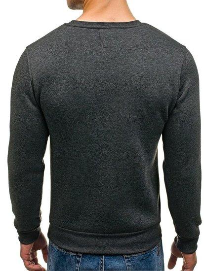 Bluza męska bez kaptura z nadrukiem antracytowa Denley 0593
