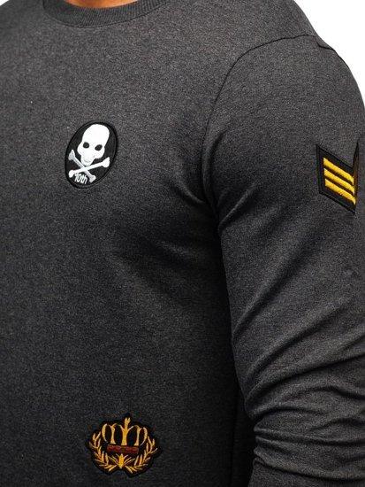 Bluza męska bez kaptura z nadrukiem antracytowa Denley 0734