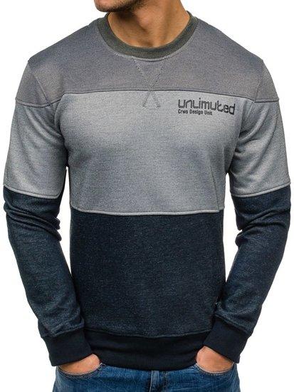 Bluza męska bez kaptura z nadrukiem antracytowo-szara Denley 3668