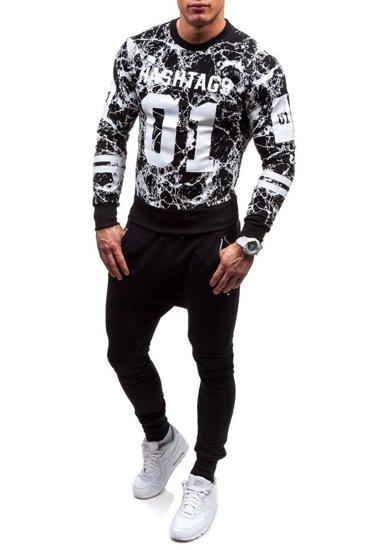 Bluza męska bez kaptura z nadrukiem czarna Denley 2126