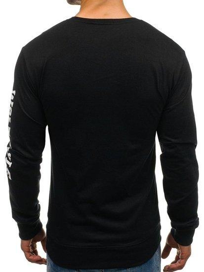 Bluza męska bez kaptura z nadrukiem czarna Denley 8058