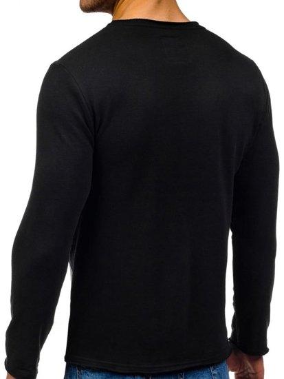 Bluza męska bez kaptura z nadrukiem czarna Denley 9081