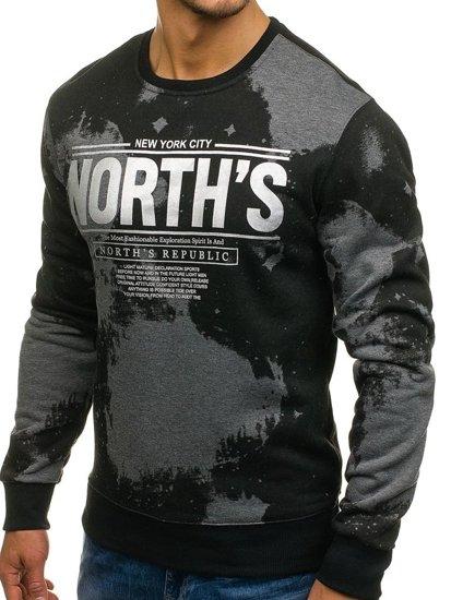 Bluza męska bez kaptura z nadrukiem czarno-grafitowa Denley DD173