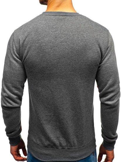 Bluza męska bez kaptura z nadrukiem grafitowa Denley DD502