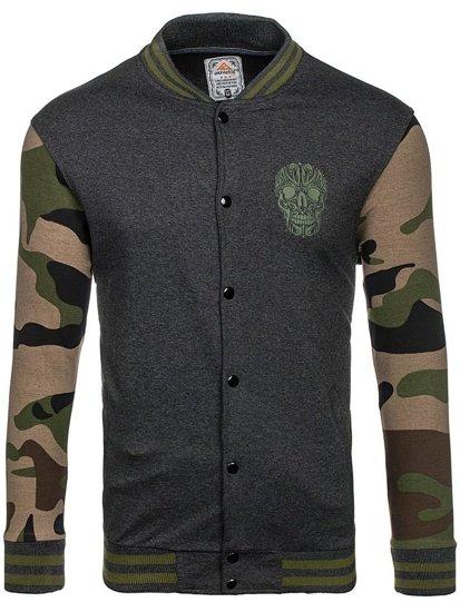 Bluza męska bez kaptura z nadrukiem grafitowo-zielona Denley 0844