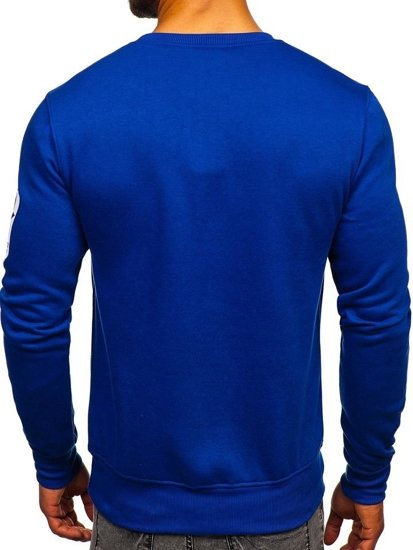Bluza męska bez kaptura z nadrukiem niebieska Denley J88