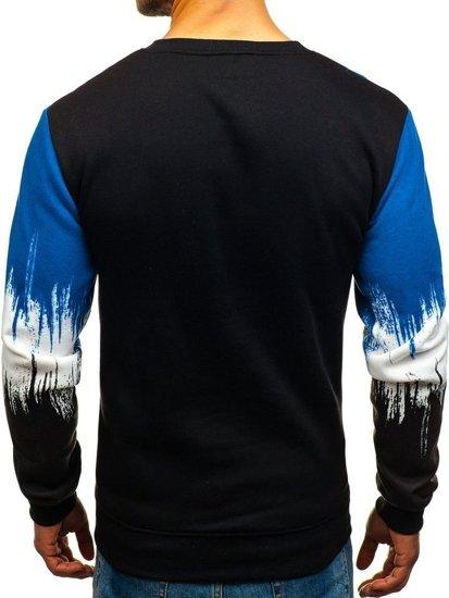Bluza męska bez kaptura z nadrukiem niebieska Denley TX12-A