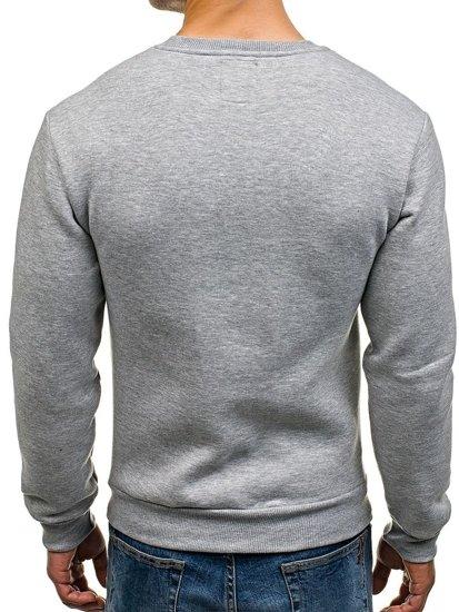 Bluza męska bez kaptura z nadrukiem szara Denley 0593